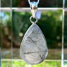 tourmalinated quartz teardrop pendant