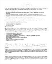 Sample Administrative Assistant Job Description 8 Examples In Pdf