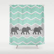 grey and white chevron shower curtain. three elephants - teal and white chevron on grey shower curtain by tangerine-tane |