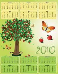 apple tree illustration. 2010 apple theme calendar template vector butterfly tree illustration