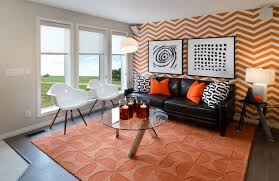 geometric orange wall geometric wallpaper in orange for living room