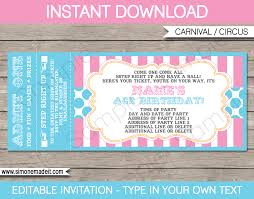 Printable Ticket Invitations Carnival Party Ticket Invitations Template Carnival or Circus 1