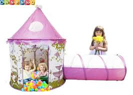 protable children outdoor toys baby princess castle play tee tents with tunnel and pink girls house fairy game kids ball pool free ship uk 2019 from