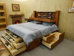 Build Drawer King Size Wooden Storage Bed — Railing Stairs and ...