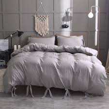 european style gray solid color bedding set quilt cover duvet cover single queen king size