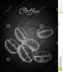 Chalkboard Background Hand Drawn Coffee Beans On Chalkboard Background Stock Illustration