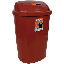 Exceptional Kitchen Trash Can 13.5 Gallon Hefty Swing Lid Red Waste Basket Garbage Bin  NEW