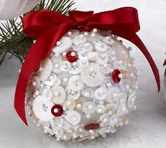 21 DIY Styrofoam Ball Christmas Ornaments  red white button ornament