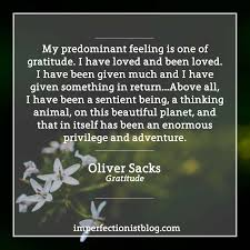 oliver sacks on gratitude the imperfectionist my predominant feeling is one of gratitude i have loved and been loved i have been given much and i have given something in return