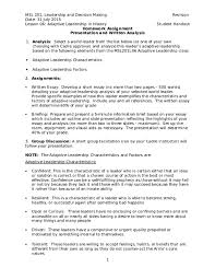 Short Essay On Leadership Doc Homework Assignment Presentation And Written Analysis
