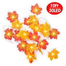 Fall Garlands With Lights Domestar Maple Leave Lights 10ft 20led Leaf String Lights Fall Garland Leaves Thanksgiving Decorations Fall Decor