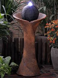 Solar Light Up Water Feature Solar Rattan Pillar And Ball Water Feature Gifts Water