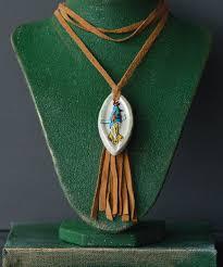 love this brown leather white ceramic bird tassel pendant necklace