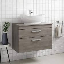 emily 800mm wall mounted 2 drawer unit and countertop grey avola