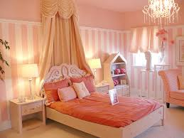 wonderful girls bedroom ideas with queen princess bed and shade also cool chandelier as well as pair of shade table lamps decorating ideas