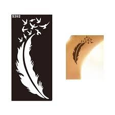 1 лист леди стиль перо птица водонепроницаемый тату хной трафарет