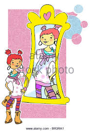 child looking in mirror clipart. a girl looking in the mirror - stock image child clipart