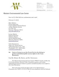 Letter Of Intent To Sue Forest Service Montana Untamed