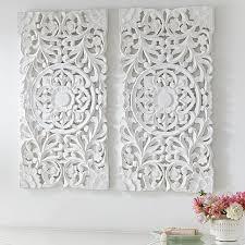 lennon maisy ornate wood carved wall art set of 3 decor white