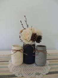 Blue Mason Jars Wedding Decor Painted and Distressed Ball Mason Jars Navy Blue and Pale Yellow 53