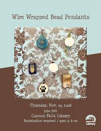 diy wire wrapped bead pendants november 15th