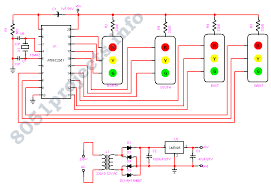 traffic light controller at89c2051 circuit diagram