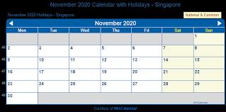 Print Friendly November 2020 Singapore Calendar For Printing