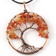 whole kraft beads copper wire wrap tree of life pendant carnelian necklace with black rope chain jewelry costume jewelry lockets from hobble