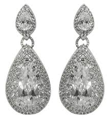 lighting marvelous silver chandelier earrings 3 1 bridget pear cut tear drop halo cubic zirconia cz