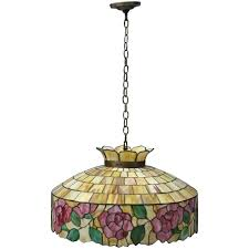 arts crafts wilkinson school leaded stained glass chandelier circa 1920 for