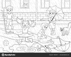 Kids Kleurplaten Vector Kinderen Spelen In De Regen Stockvector