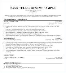 Bank Teller Resume No Experience