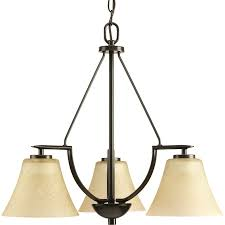 progress lighting bravo 3 light antique bronze transitional tinted glass shaded chandelier