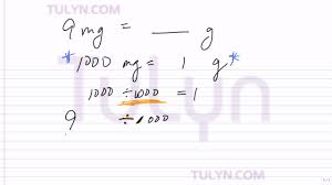 Conversion Of Metric Units Milligrams To Grams