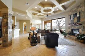 ... Marvelous Home Interior With Modern Coffered Ceiling : Fascinating  Decorating Ideas Using Brown Fabric Sofas And ...