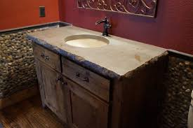 bathroom concrete countertop with undermount sinks and chiseled edge installed in montague texas