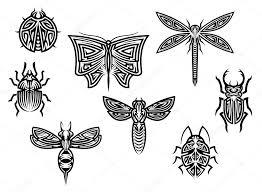 Tribal Tetování Sada S Elementy Dekoračnéj Hmyzu Stock Vektor