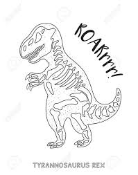 Alert Famous T Rex Skeleton Coloring Page Pages Drawing Dinosaur