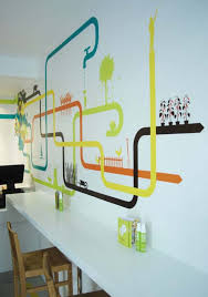 astounding multicolored mexican restaurant design ideas in london multicolor ilrations resembling pipes restaurant wall decoration