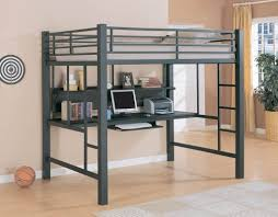 Furniture: Black Full Size Metal Loft Bed With Desk Underneath For Boys  Bedroom Furniture Ideas