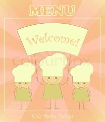 Design Of Kids Menu With Chefs Stock Vector Colourbox