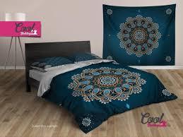 duvet cover blue mandala boho bedding