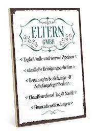 Typestoff Holzschild Mit Spruch Eltern Gmbh Im Vintage Look Mit