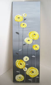 yellow and grey textured flower art acrylic par murraydesign