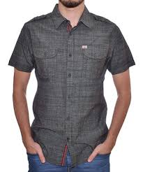 black chambray short sleeve on up men