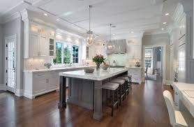 Island In Different Colour Nice Marble White Kitchen With Dark Wood Floor  Designs From Hgsphere Pinterest