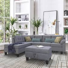 Sofa With Couch Designs Harper Bright Designs Sofa Sectional For Living Room With Chaise Lounge And Ottoman 3 Piece Sofa Couches Grey