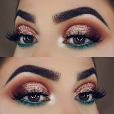 festive gold and green eye makeup look for