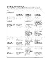 Tax Deduction Chart Involuntary Deductions Chart Finance