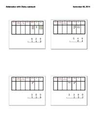Place Value Chart With Disks Subtraction Of Whole Numbers With Place Value Disks